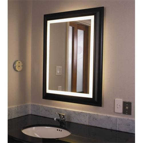 Wood framed led mirror
